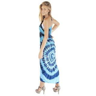 Women's La Leela Aquablue Rayon 78-inch x 43-inch Hand Tie-dyed Beach Skirt Coverup With Free Sarong Clip