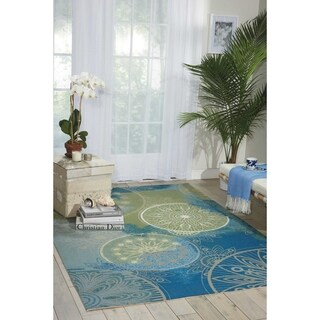 "Nourison Home and Garden Medallion Blue Indoor/ Outdoor Rug - 7'9"" x 10'10"""