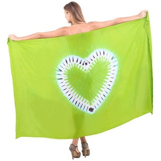 La Leela Women's Green Heart Rayon 78-inch x 43-inch Tie-dyed Coverup Skirt With Sarong Clip