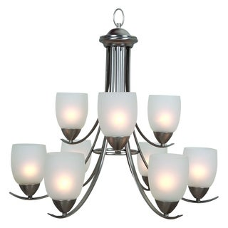 Ann Brushed Nickel Finish 9-light Steel Chandelier with Frosted and Etched Glass