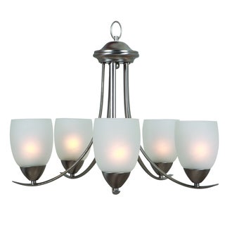 Y-Decor Ann Brushed Nickel Finish 5-light Chandelier with White Etched Glass