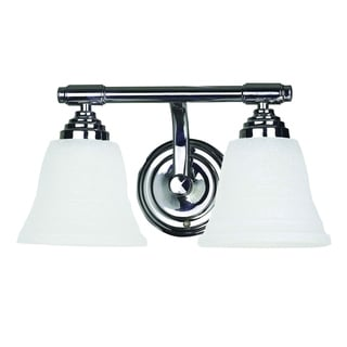 Bentley Polished Chrome Finish 2-light Vanity Light Fixture with White Frosted Glass