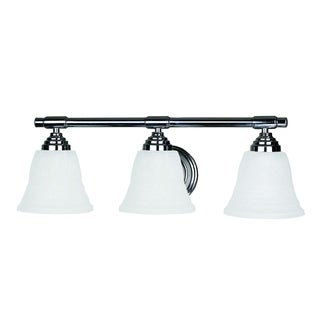 Bentley Polished Chrome Finish 3-light Vanity Light Fixture with White Frosted Glass