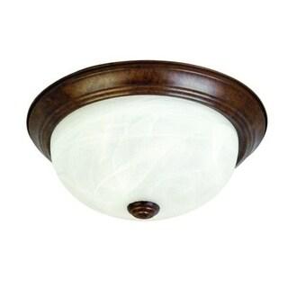 Dark Brown Flush Mount Ceiling Light Fixture with Alabaster Glass