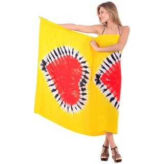 La Leela Hand Tie Dye Dual Heart Beach Cover up Pareo Skirt 78x43Inch Yellow