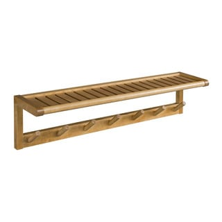 New Ridge Home Abingdon Solid Birch Wood Cinnamon Large Peg Rack with Shelf