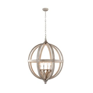 Y-Decor Hercules 4 Light Chandelier in Wooden Globe Frame - Neutral