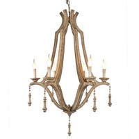 Y-Decor Musella 6 Light Chandelier in Wood frame and Neutral finish