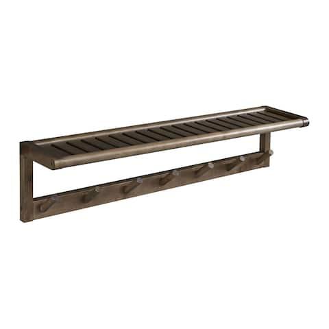 NewRidge Home Abingdon Solid Wood Large Peg Rack with Shelf