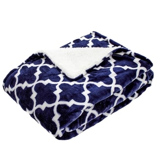 Gatework Navy Micro Mink Baby Blanket with Sherpa Back