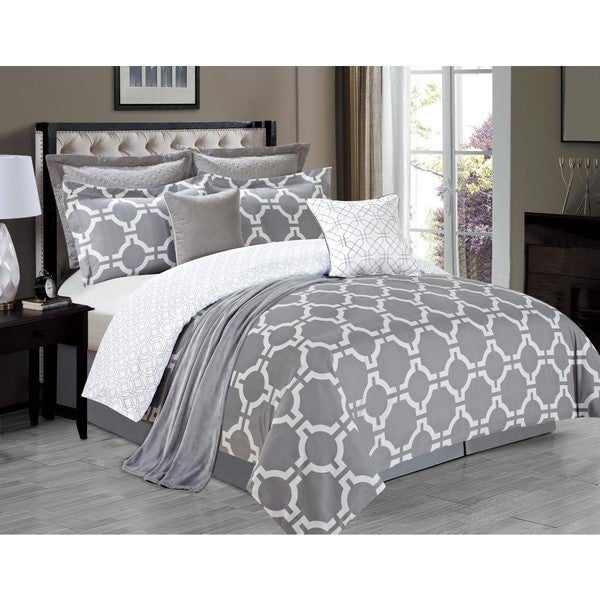 Belmore Grey 8-piece Comforter Set