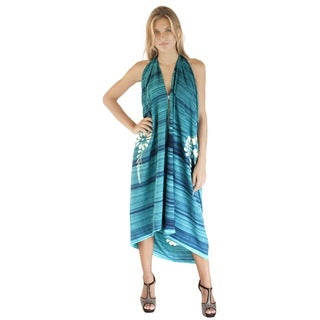 La Leela Gentle Rayon TeXture Floral Fern Cover up Sarong Dress 78X43Inch Teal
