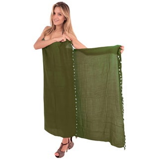 La Leela Gentle Rayon Solid Tassels ,Shells Cover up Sarong 70X43 Inch Green