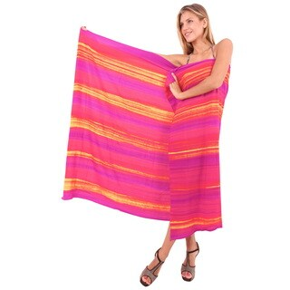 La Leela Gentle Women's Pink Hand Tie-dyed Rayon Cover-up Skirt With Free Sarong Clip
