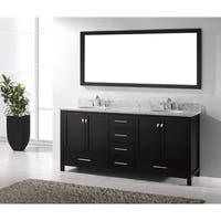 Virtu USA Caroline Avenue 72-inch Italian Carrara White Marble Double Bathroom Vanity Set with Faucet Options