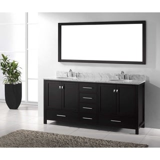 Virtu USA Caroline Avenue 72-inch Italian Carrara White Marble Double Bathroom Vanity Set with Faucet Options (More options available)