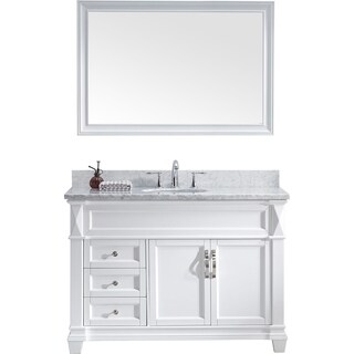 Victoria 48-inch White Marble Single Vanity Set Faucet