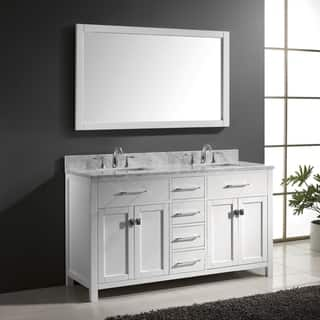 Virtu USA Caroline 60-inch Carrara White Marble Double Bathroom Vanity Set with Faucets|https://ak1.ostkcdn.com/images/products/11860484/P18760576.jpg?impolicy=medium