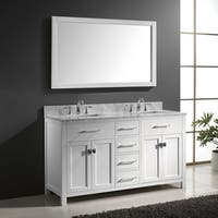 Virtu USA Caroline 60-inch Carrara White Marble Double Bathroom Vanity Set with Faucets
