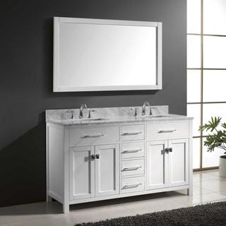 Charmant Virtu USA Caroline 60 Inch Carrara White Marble Double Bathroom Vanity Set  With Faucets