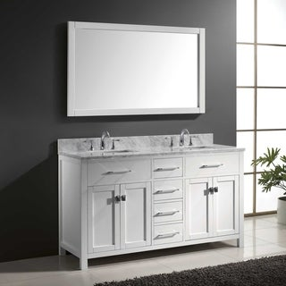 Virtu USA Caroline 60-inch Carrara White Marble Double Bathroom Vanity Set with Faucets