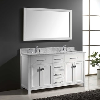 Virtu USA Caroline 60 Inch Carrara White Marble Double Bathroom Vanity Set  With Faucets