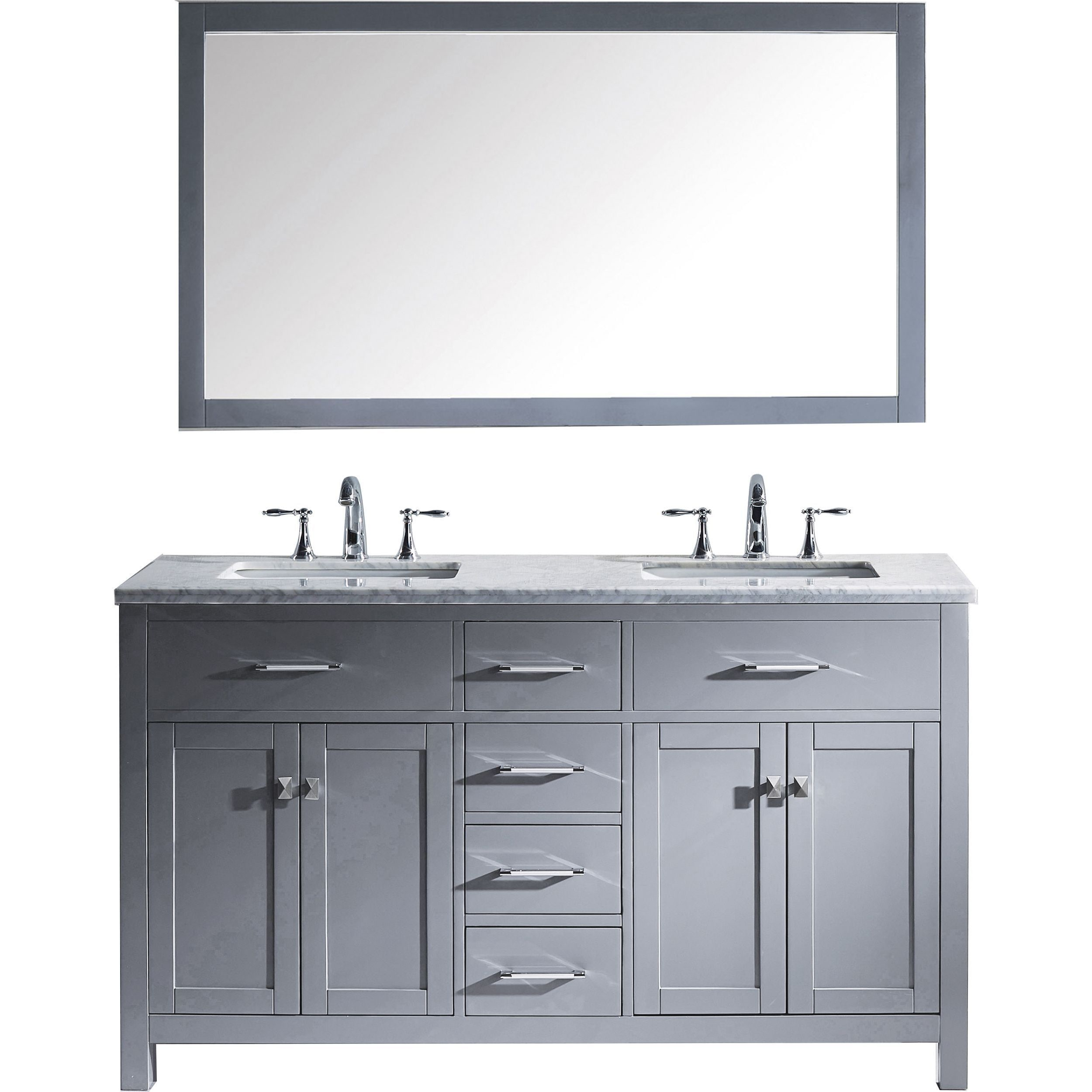Virtu Usa Caroline 60 Inch Carrara White Marble Double Bathroom Vanity Set With Ebay
