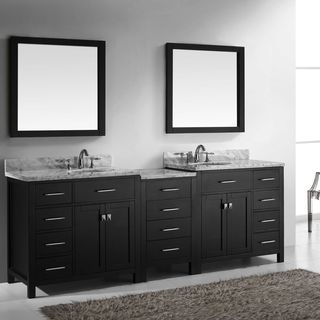 Virtu USA Caroline Parkway 93-inch Italian Carrara White Marble Double Bathroom Vanity Set with Faucets