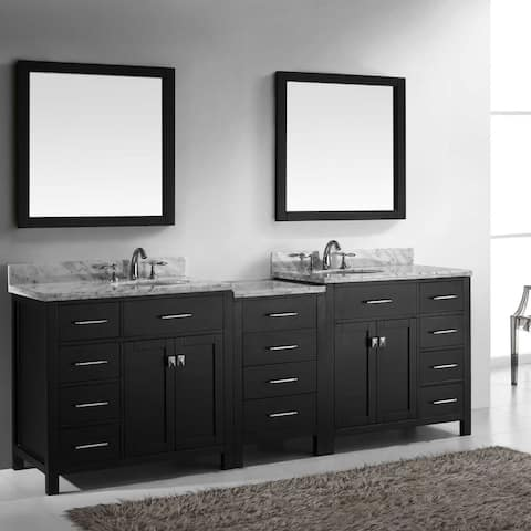 Virtu USA Caroline Parkway 93-inch Round Double Bathroom Vanity Set with Faucets