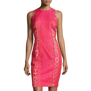 Carmen Marc Valvo Women's Jacquard Fuchsia Cocktail Dress