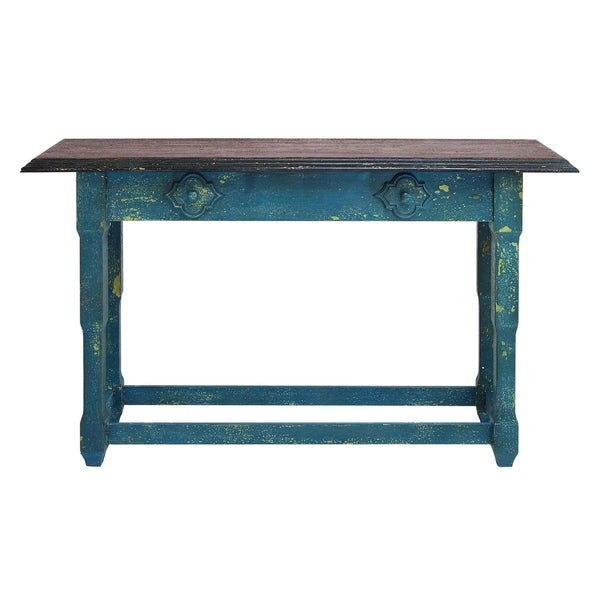 Durable multi purpose wood table in sober blue finish for Durable kitchen table