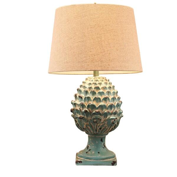 AampB Home Artichoke Ceramic Finial Table Lamp