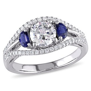 Miadora 14k White Gold 1 1/4ct TDW Certified Diamond and Half Moon-cut Sapphire Split Shank Engageme