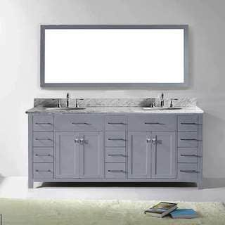 Virtu USA Caroline Parkway 78-inch Grey Double Bathroom Vanity Set with White Marble Top