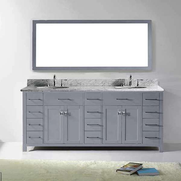 Virtu Usa Caroline Parkway 78 Inch Grey Double Bathroom Vanity Set With White Marble Top