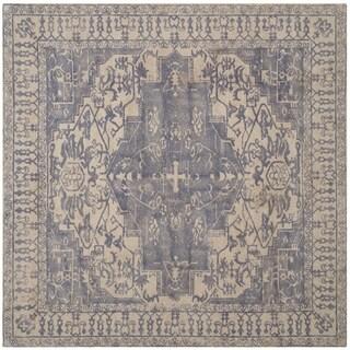 Safavieh Handmade Restoration Vintage Oriental Blue/ Grey Wool Rug (6' Square)