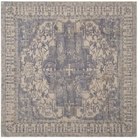 Safavieh Handmade Restoration Vintage Oriental Blue/ Grey Wool Rug - 6' Square