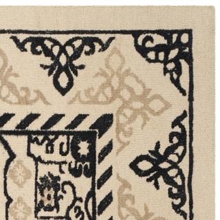 Safavieh Handmade Restoration Vintage Ivory / Charcoal Wool Rug (6' Square)