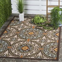 "Safavieh Indoor/ Outdoor Veranda Chocolate/ Aqua Rug - 6'7"" x 6'7"" square"