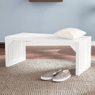 Harper Blvd White Slatted Bench/ Table