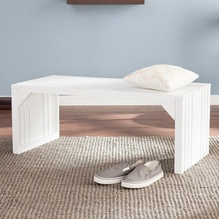 Harper Blvd White Slatted Bench/ Table