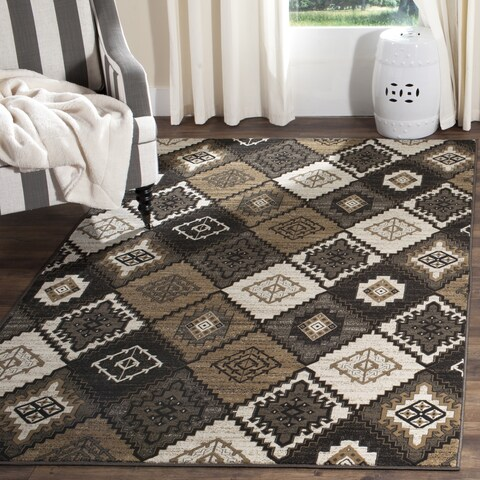 "Safavieh Vintage Black/ Ivory Distressed Rug - 6'7"" x 6'7"" Square"