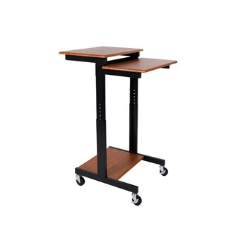 Luxor PS3945-T Brown Steel/Laminate Adjustable Height Presentation Station