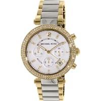 Michael Kors Women's  Parker Multi-Function Silver Dial Crystal Bezel Two-Tone Stainless Steel Bracelet Watch