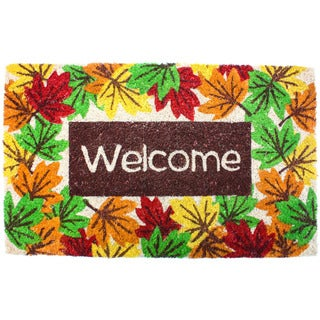 J & M Home Fashions 'Harvest Leaves' 18-inch x 30-inch Welcome Doormat with Vinyl Back