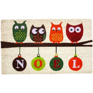 J&M Home Fashions Christmas Noel Owls 18-inch x 30-inch Vinyl Back Doormat