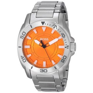 Hugo Boss Men's Analog Orange Dial Silver-Tone Stainless Steel Bracelet Watch 1512947