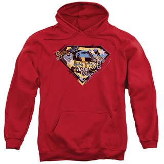 Superman/American Way Adult Pull-Over Hoodie in Red