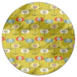 Retro Poppy Round Tablecloth