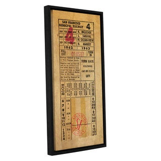 Pied Piper's 'Vintage Railway Ticket' Gallery Wrapped Floater-framed Canvas